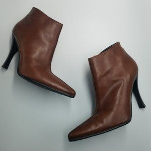 Aldo Brown Leather Pointed Toe Ankle Boots